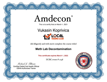 Decontamination Certificate